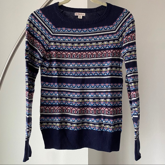 Navy colorful patterned sweater
